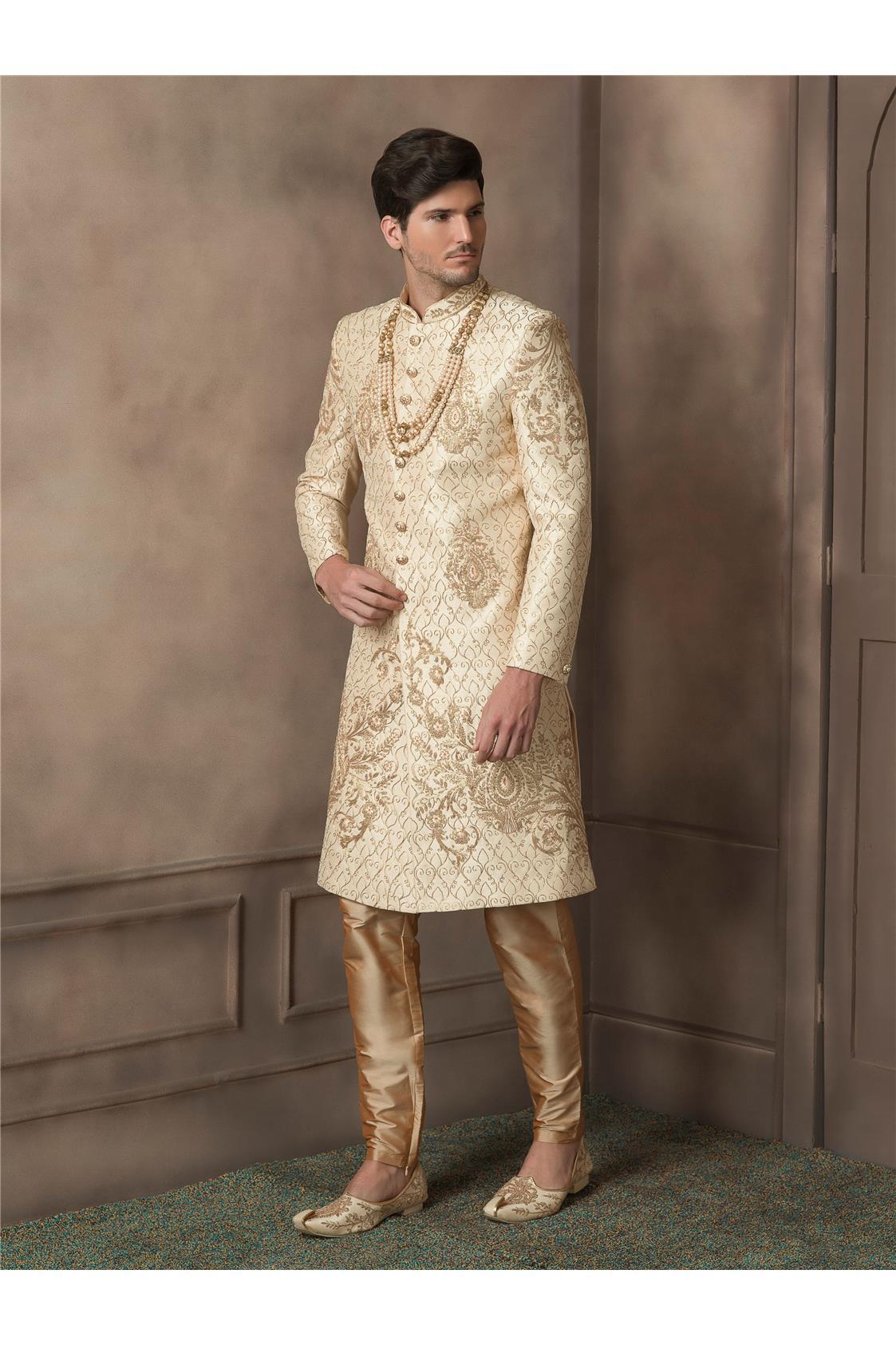 Gold Zari and Thread Worked Silk Sherwani